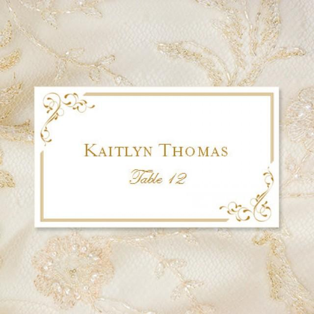 Printable place cards quotelegancequot in gold editable worddoc tent card template avery 5302 for Avery printable place cards