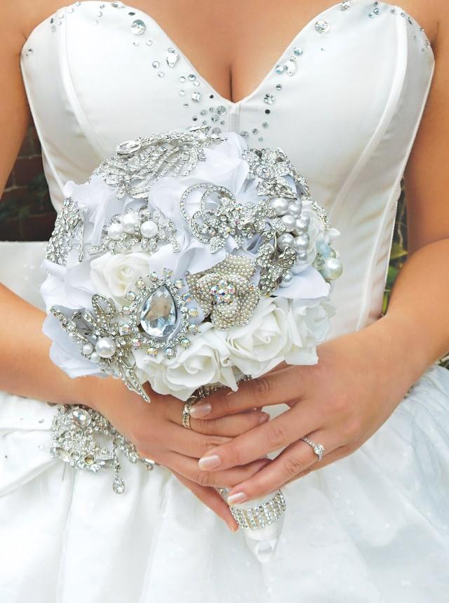 Silk Flower Wedding Bouquet Ivory Bridal Bouquet White