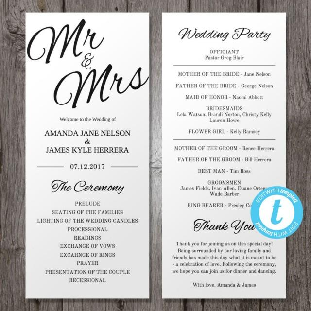 Programme For Wedding: Printable Wedding Program Template Mr & Mrs , Instant