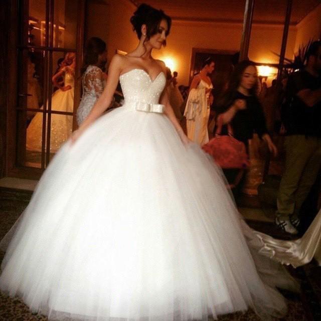 wedding photo - Ball Gown Empire Wedding Dresses with Sash