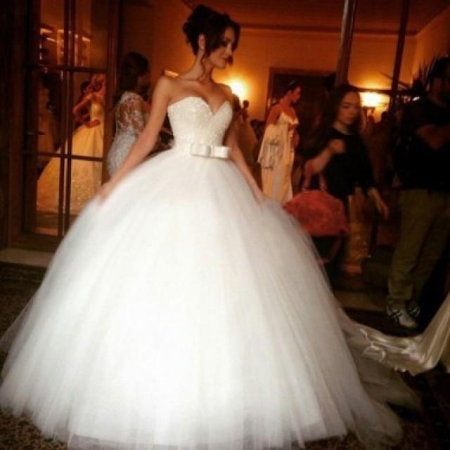 wedding photo - Sparkly Ball Gown Wedding Dresses - White Sweetheart Princess with Bowknow