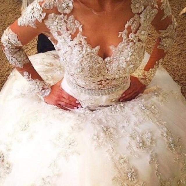 wedding photo - Luxurious Sheer Neck Bridal Wedding Dresses - Ball Gown Long sleeves with Flowers Lace