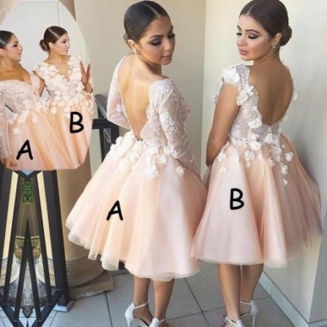 wedding photo - Cute Backless Wedding Dresses - Knee Length V-Neck with Flowers