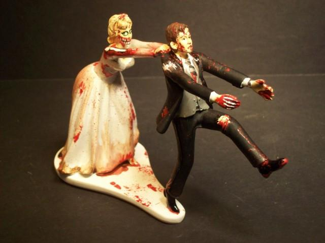Zombies Running Bride And Groom Funny Wedding Cake Topper