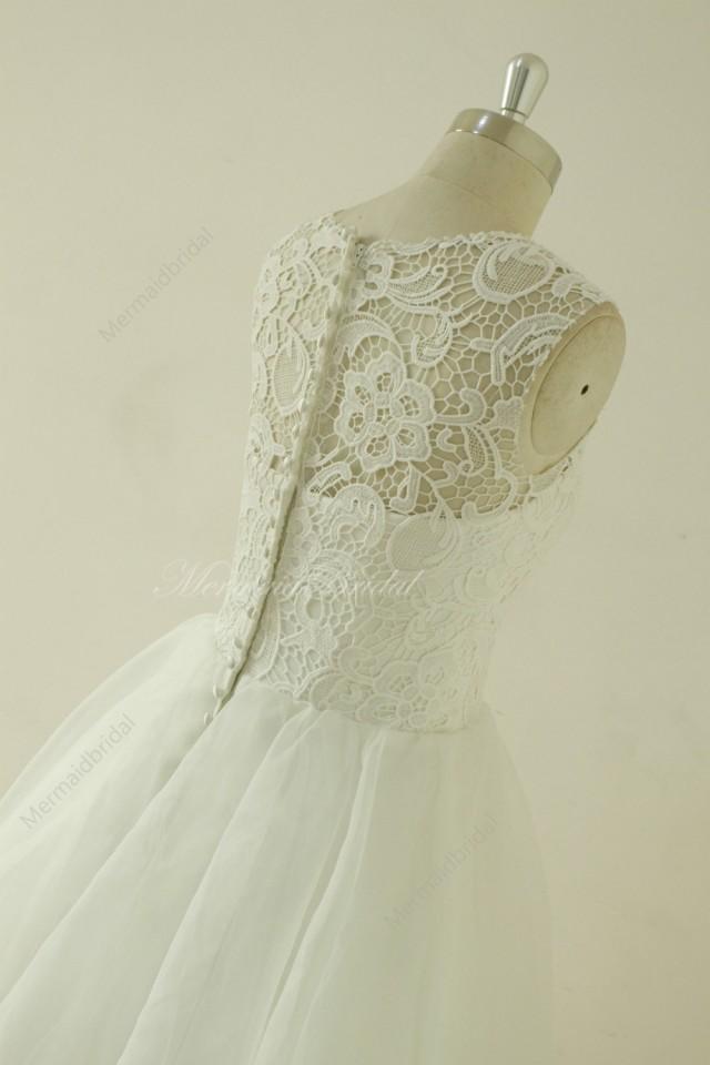 Vintage knee length lace wedding dress lace prom dress for Vintage t length wedding dresses