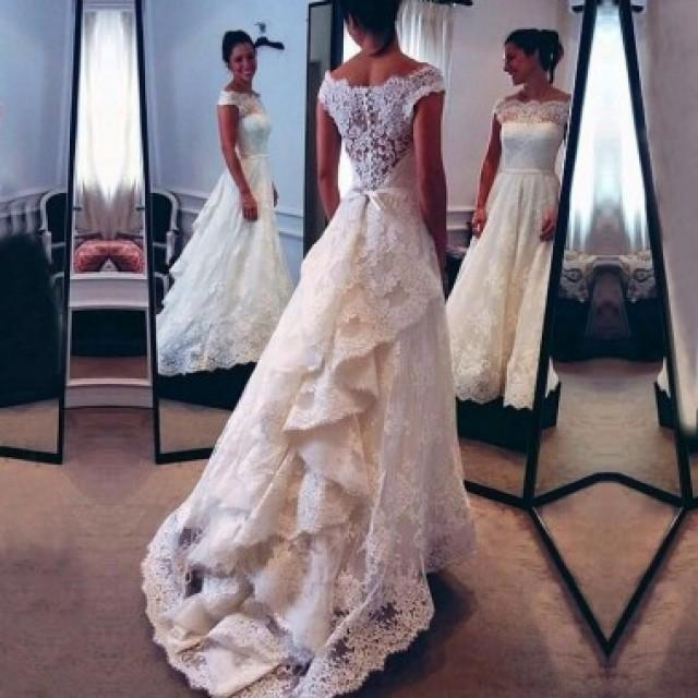 wedding photo - Elegant Lace Wedding Dress Bridal Gown with Long Sleeves