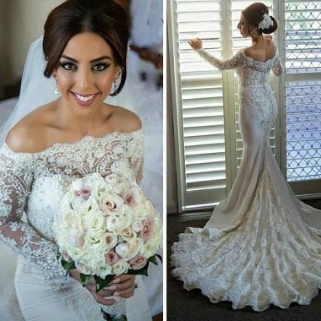 wedding photo - Delicte Long Bateau Mermaid Wedding Dress Bridal Gown with Long Sleeves