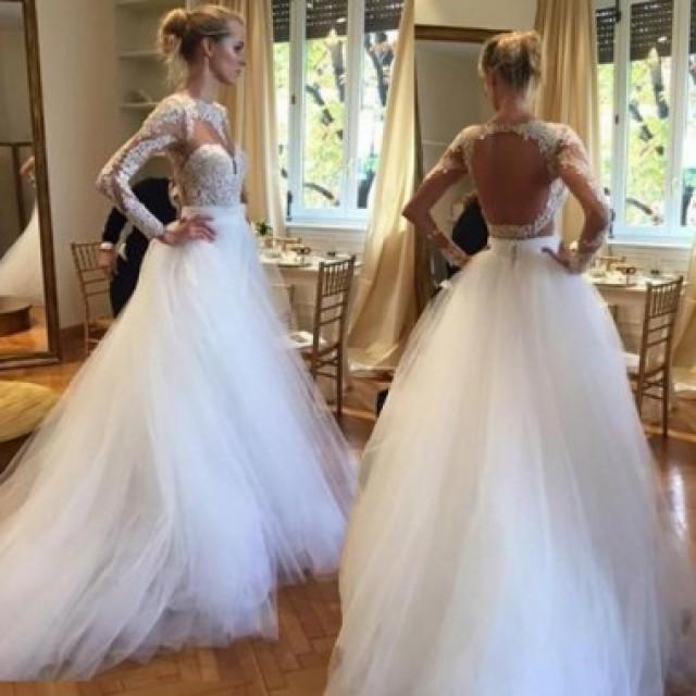 wedding photo - Dramatic White Open Back Long Bridal's Wedding Dress