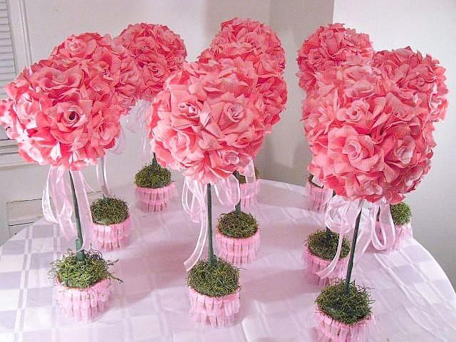 Ten pink rose topiaries silk flower table