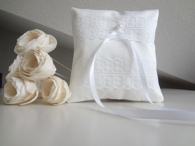 Bridal Pillow Ring Bearer Cushion Wedding Ring Pillow White Ring Bearer Pillow With Lace