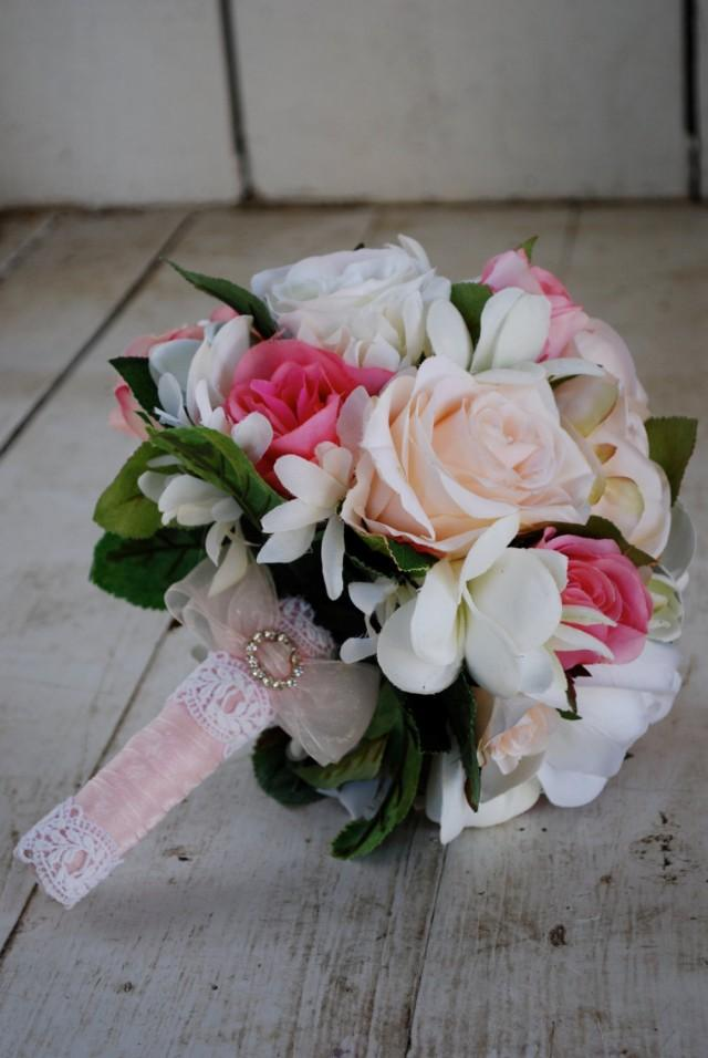 SALE Silk Bridal Bouquet Nosegay Pink White Roses Plumeria SALE 25