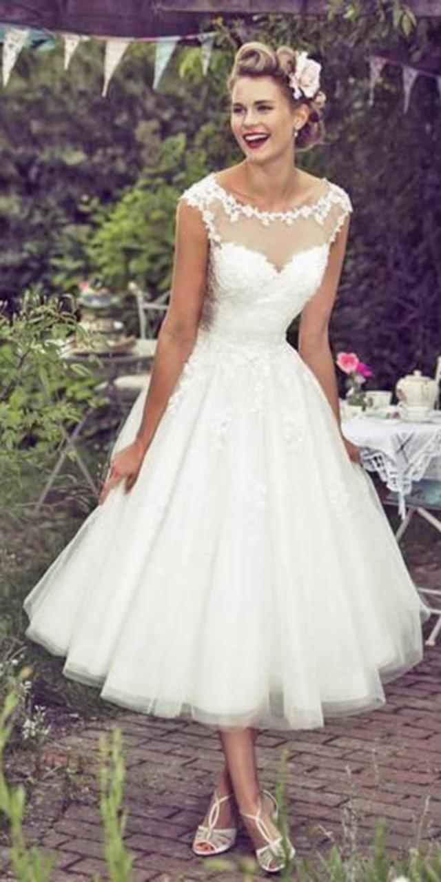 Wedding theme tea length wedding dresses via true for T length wedding dresses