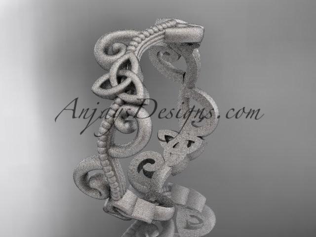 wedding photo - platinum celtic trinity knot matte finish wedding band, engagement ring CT7138G