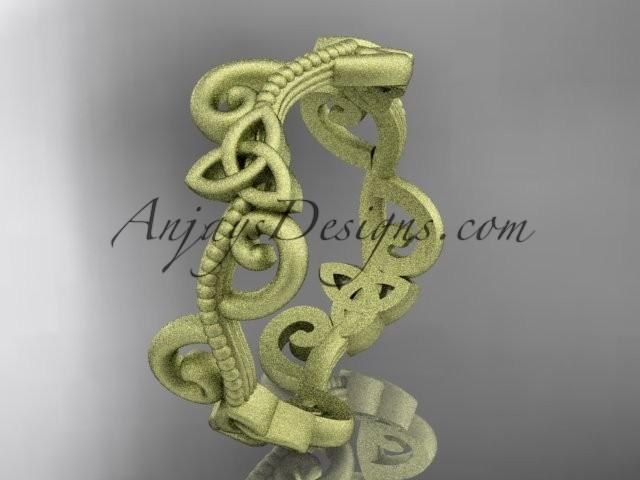 wedding photo - 14kt yellow gold celtic trinity knot matte finish wedding band, engagement ring CT7138G