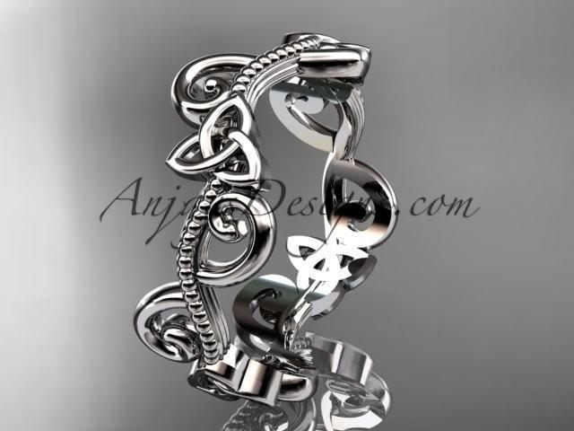 wedding photo - platinum celtic trinity knot wedding band, engagement ring CT7138G