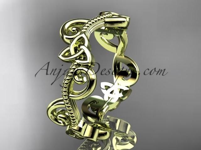 wedding photo - 14kt yellow gold celtic trinity knot wedding band, engagement ring CT7138G