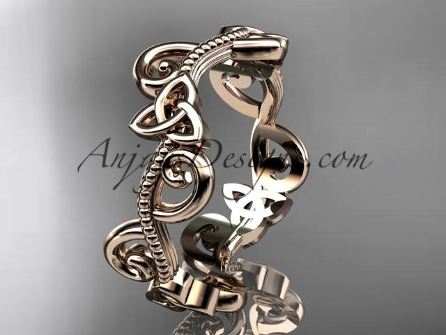 wedding photo - 14kt rose gold celtic trinity knot wedding band, engagement ring CT7138G
