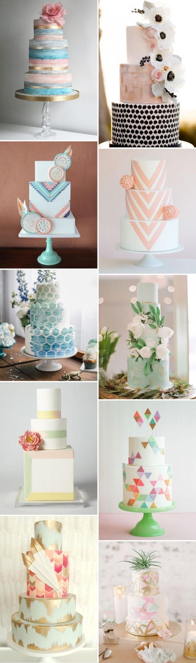 Kuchen modern pastel wedding cakes 2527164 weddbook for Modern halboffene kuchen