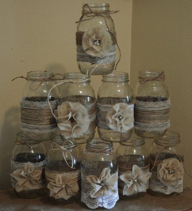 Mason Jar Wedding Decorating Ideas: Set Of 10 Mason Jar Sleeves, Burlap Wedding Decorations