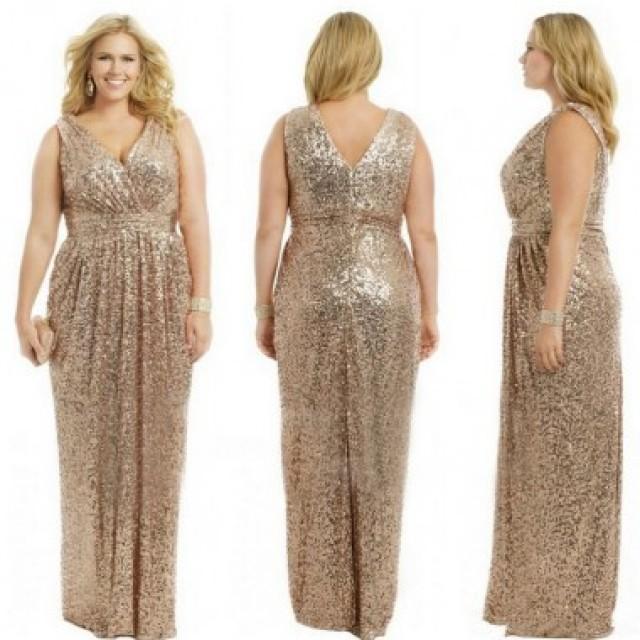 wedding photo - Elegant V-Neck Sequins Plus Size Bridesmaid Dresses/Evening Dresses/Party Dresses