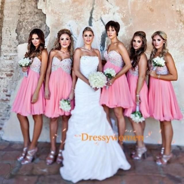 wedding photo - Elegant Knee Length Bridesmaid Dress-Coral Sweetheart with Appliques
