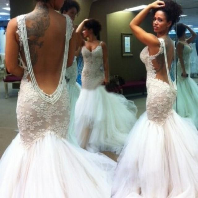 wedding photo - Sexy Mermaid Backless Wedding Bridal Gown Dress with Lace