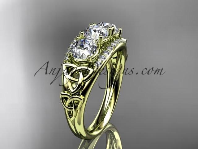 wedding photo - 14kt yellow gold diamond celtic trinity knot wedding ring, three stone engagement ring CT7203