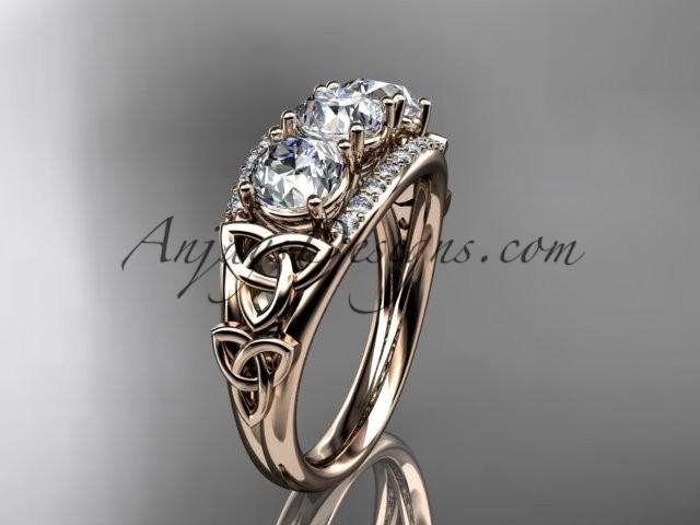 wedding photo - 14kt rose gold diamond celtic trinity knot wedding ring, three stone engagement ring CT7203
