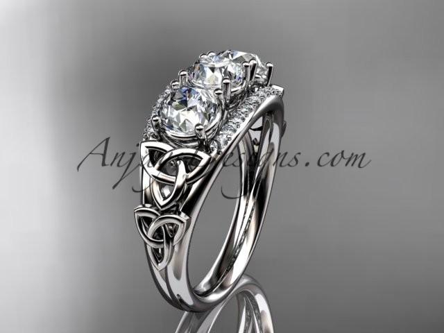 wedding photo - platinum diamond celtic trinity knot wedding ring, three stone engagement ring CT7203