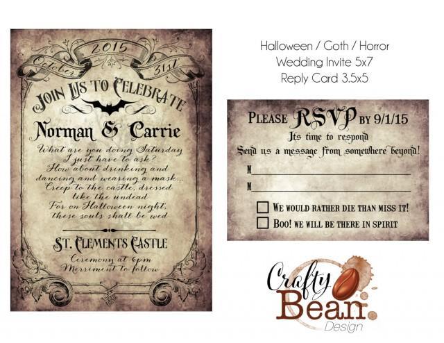Custom vintage victorian halloween goth wedding invitation for Free printable gothic wedding invitations