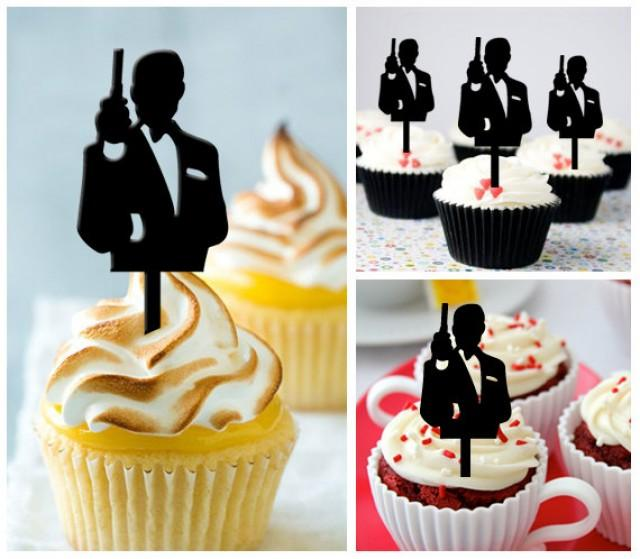 Ca321 new arrival 10 pcs decorations cupcake topper james for 007 decoration ideas