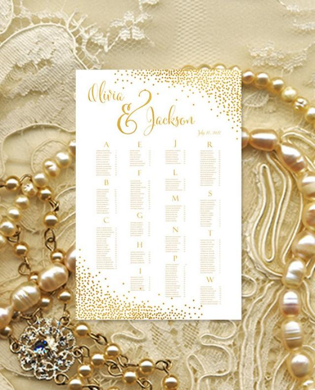 """Wedding Seating Chart Poster """"Confetti"""" Gold Reception ..."""
