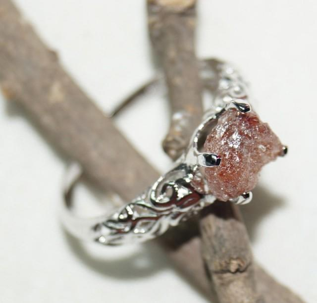 natural diamond ring red diamond ring uncut diamond ring