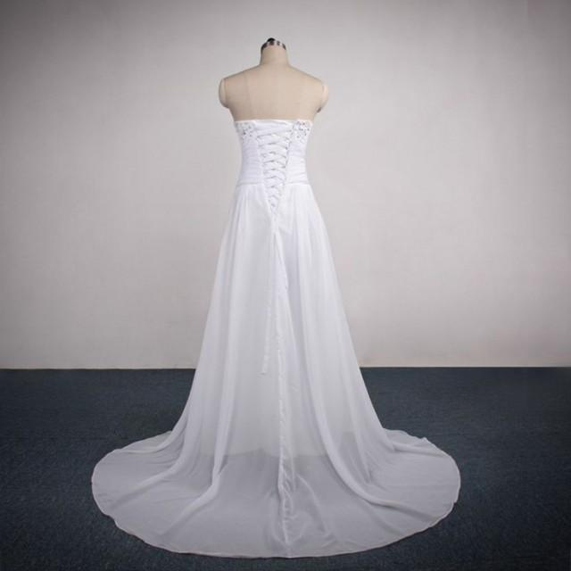 Sweetheart beaded neckline dropped waist wedding dress for Sweetheart neckline drop waist wedding dress