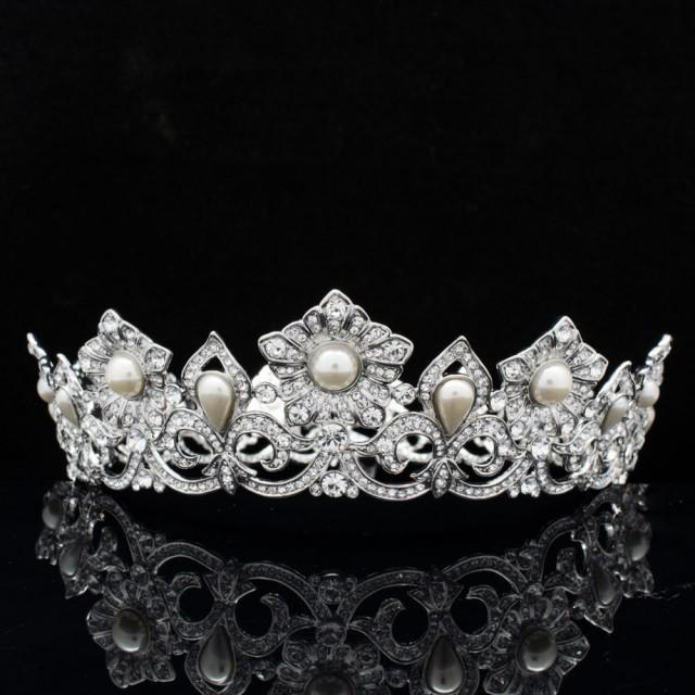 Elegant Bridal Set Heavy Gold Plated Diamante Crystal: Full Bridal Crown, Princess Bride Swarovski Crystal Pearl