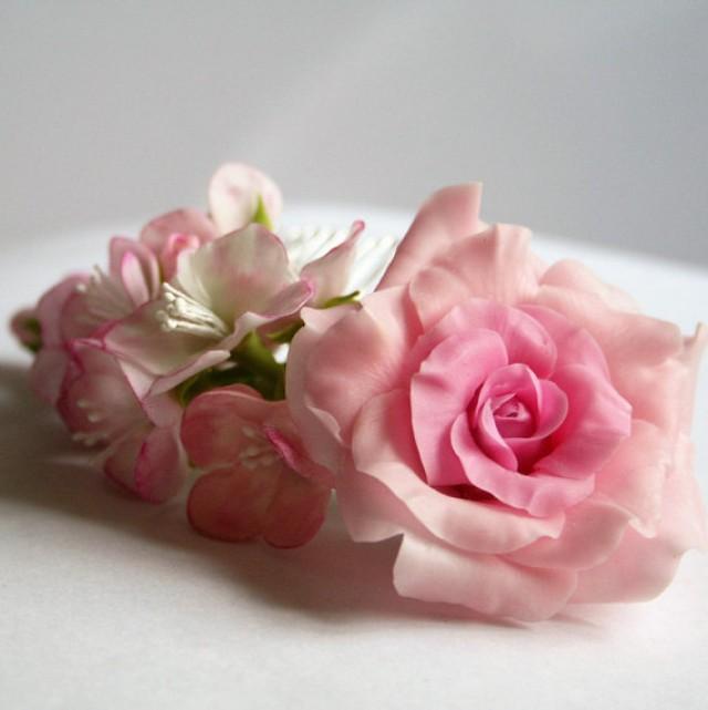 wedding photo - Pink bridal flower comb - cherry and rose flowers. Bridal comb. Flower hair comb. Wedding flower comb. Bridal hair flower, bridal accessory