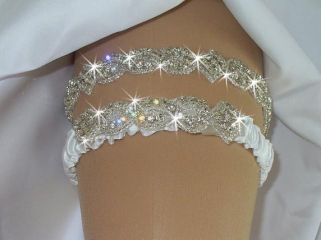 wedding photo - Original Rhinestone Wedding Garter Set with Toss Garter, Original Bridal Garter Set, 12 Color Choices, Weddings