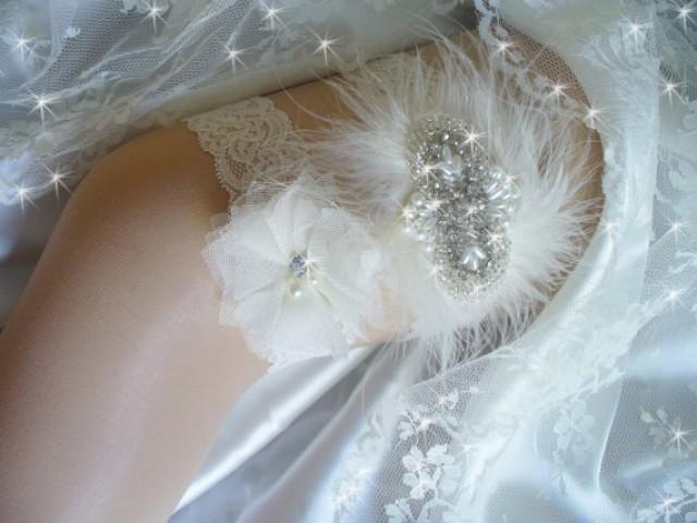 wedding photo - Ivory or White Lace Wedding Garter, Rhinestone Bridal Garter Set, Lace and Pearl Wedding Garter, Wedding Garter with Marabou Feathers