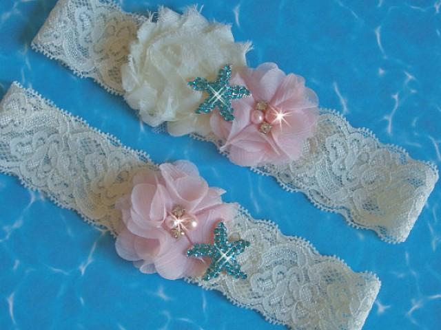 wedding photo - Beach Wedding Garter Set, Destination Wedding Starfish Garter, Something Blue, Toss Garter, Aqua Starfish Garter Set, Blush Bridal Garter