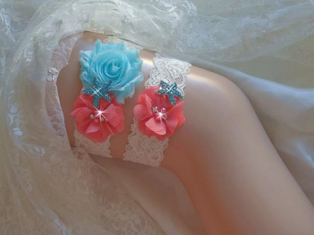wedding photo - Beach Wedding Garter, Coral and Aqua Garter Set, Starfish Garter, Toss Garter, Something Blue Bridal Garter, Beach Garter, Wedding Garder