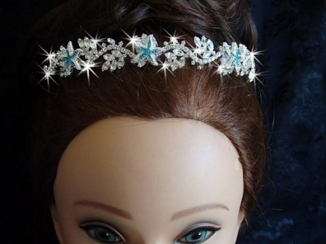 wedding photo - Aqua Blue Starfish Beach Tiara for Wedding, Starfish Tiara, Destination Wedding, Beach Tiara, Beach Head Band, Bridal Crown, Something Blue
