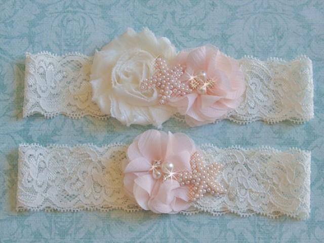 wedding photo - Blush Pink Garter with Starfish, Ivory Lace Beach Wedding Garter, Floral Blush Garter w/Toss, Pearl Starfish Garter Set, Destination Garter