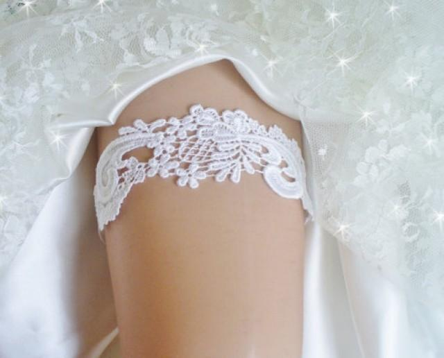 wedding photo - Wedding Garter- White Venise Lace Bridal Garter- White Garter Belt-Wedding Garder