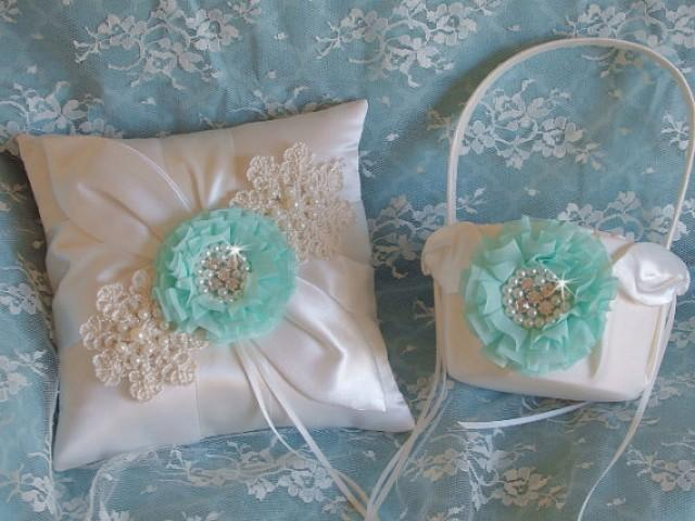 wedding photo - Aqua Blue, Pool Blue Wedding Flower Girl Basket and Pillow Set, Pink Wedding Ring Pillow, Something Blue Wedding Ring Pillow and Basket Set