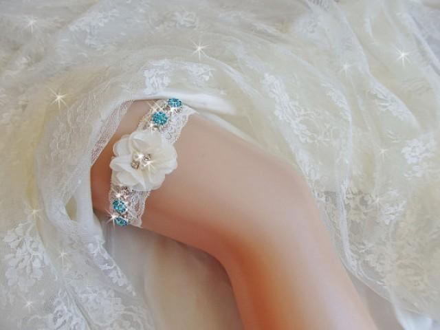 wedding photo - Something Blue Wedding Garter with Aqua Accents, Lace Bridal Garter, Bling Bridal Lingerie, Rhinestone Garter with Beads, Bridal Accessories