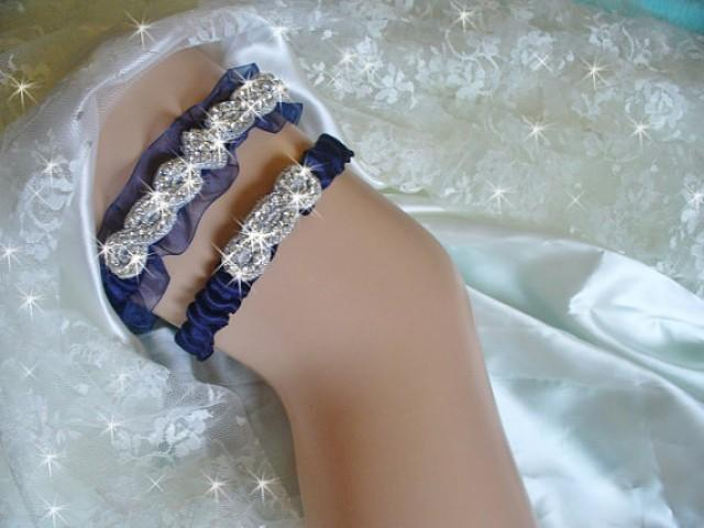 wedding photo - Organza Wedding Garter in Navy Blue with Toss Garter, Available in 14 other colors, Something Blue Garter, Bling Bridal Garter, Garder Set