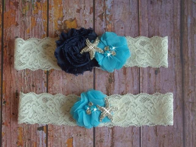 wedding photo - Navy and Blue Beach Wedding Garter, Color Choice Starfish Bridal Garter, Lace Wedding Garter, Destination Lace Garter, Bridal Accessories