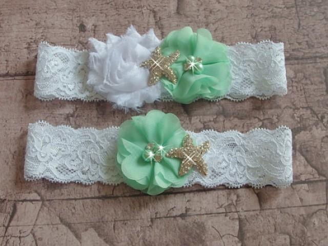 wedding photo - Mint Beach Wedding Garter Set, Starfish Bridal Garter Belts, White Lace Wedding Garter, Green garter Set, Destination Wedding Garter