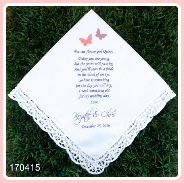 Wedding Handkerchief Flower Girl Gift PRINT CUSTOMIZE Lace Hankerchief Weddin