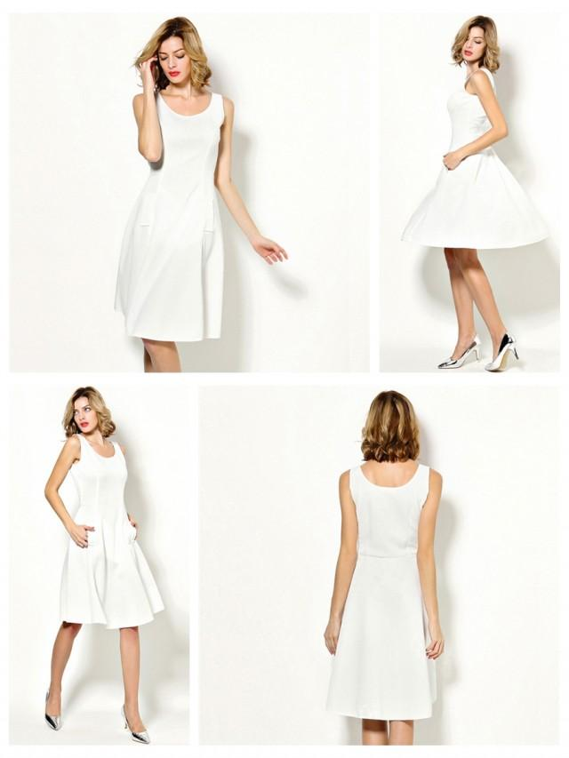 wedding photo - Sleeveless Casual Dress White